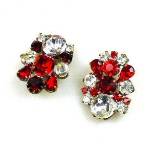 Buttons 2 pc. Rhinestone Buttons ~ Red Clear Crystal