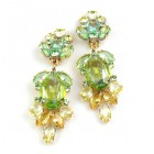 Iris Grande Clips Earrings ~ Green Yellow
