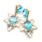 Xantypa Earrings Pierced ~ Clear Crystal with Aqua