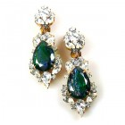 Grand Mythique Clips-on Earrings ~ Crystal Silver Emerald