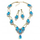 Hortensia Set ~ Clear Crystal with Aqua ~ Pierced Earings