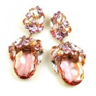 Fiore Pierced Earrings ~ Pink and Clear Crystal