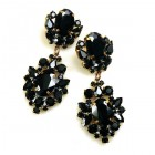 Aztec Sun Earrings Pierced ~ Black