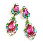 Déjà vu Pierced Earrings ~ Fuchsia Multicolor