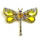 Dragonfly Baguette Stones ~ Yellow Clear