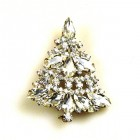 Xmas Tree Brooch #09 ~ Clear Crystal