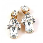 Emilee Earrings Clips ~ Clear Crystal