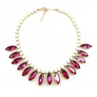 Indian Summer Necklace ~ White with Fuchsia
