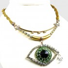 Green Eye ~ Wonderful Rhinestone Necklace