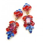 Iris Grande Clips Earrings ~ Blue Ruby Red