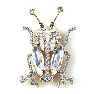 Longhorn Beetle Pin ~ Clear Crystal
