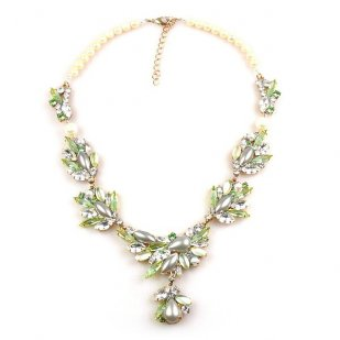 Pure Wonder Necklace with Beads ~ Clear and Pale Green