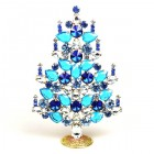 Rivoli Xmas Stand-up Tree 16cm ~ Aqua Clear Blue