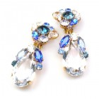 Fountain Clips-on Earrings ~ Blue Tones with Clear Crystal