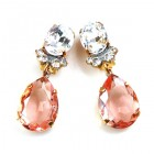 Effervescence Earrings with Clips ~ Pink Clear Crystal