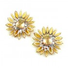 Sunflower Earrings ~ Large with Clips