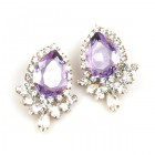 Paris Charm Pierced Earrings ~ Crystal with Violet