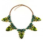 Clementine Necklace ~ Olive Green with Emerald