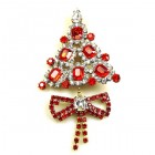 Xmas Tree with Bow Pin ~ Clear Red