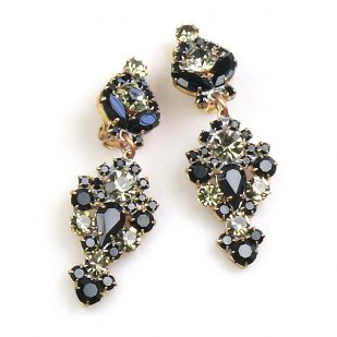 Andromeda Earrings with Clips ~ Black Diamond