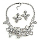 Lotus Flower Necklace Set ~ Clear Crystal ~ Black Plated