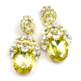 Extra Elipse Earrings Long Pierced ~ Yellow with Clear Crystal