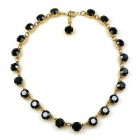Bohemia One Strand Necklace Rounds ~ Black ~ Gold Plated