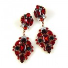 Fatal Passion Earrings Pierced ~ Ruby Red with Black