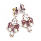 Fatal Kiss Earrings Pierced ~ Amethyst Clear Crystal