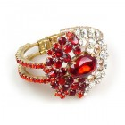 Aztec Sun Clamper Bracelet ~ Red with Clear Crystal