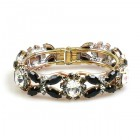 Harmony Clamper Bracelet ~ Clear Crystal with Black