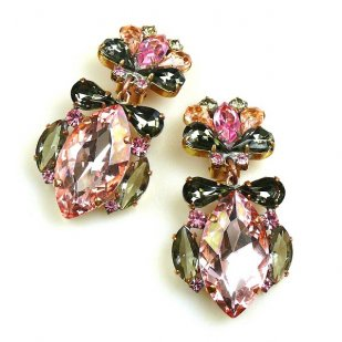 Floralie Earrings with Clips ~ Pink with Smoke Crystal