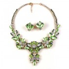 Charmeur Set Necklace with Earings ~ Crystal Opaque Green