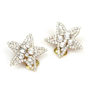 Stars Earrings with Clips ~ Clear Crystal