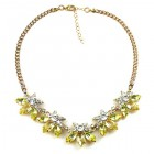 Breeze Necklace ~ Clear Crystal with Yellow Jonquil
