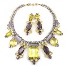 Lady Charm Necklace Set with Earrings ~ Yellow Violet