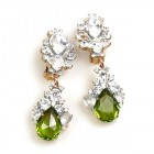 Timeless Clips on Earrings ~ Crystal with Olive Green