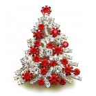 Xmas Tree Brooch #10 ~ Clear Red