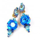 Taj Mahal Earrings Clips ~ Blue Aqua