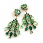 Enchanted Rhinestone Earrings Clips ~ Green Tones