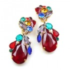 Fountain Clips-on Earrings ~ Fruit Cocktail with Red