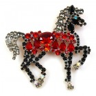 Liberty Horse Brooch ~ Black with Red