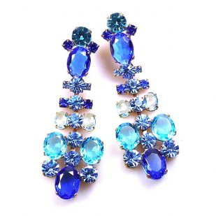 Dione Earrings Clips ~ Blue Aqua