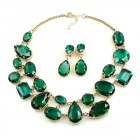 Dainty Delights Necklace with Earrings ~ Emerald