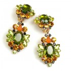 Aztec Sun Earrings Clips ~ Olive Green with Topaz