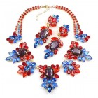 Iris Grande Necklace Set ~ Blue Ruby Red with Silver Fuchsia