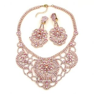 Aisha Necklace Set with Earrings Pink