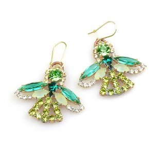 Angels Earrings for Pierced Ears ~ Green