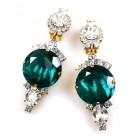 Taj Mahal Earrings Clips ~ Clear with Silver Emerald