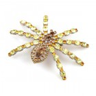 Tarantula Brooch ~ Yellow Jonquil with Topaz